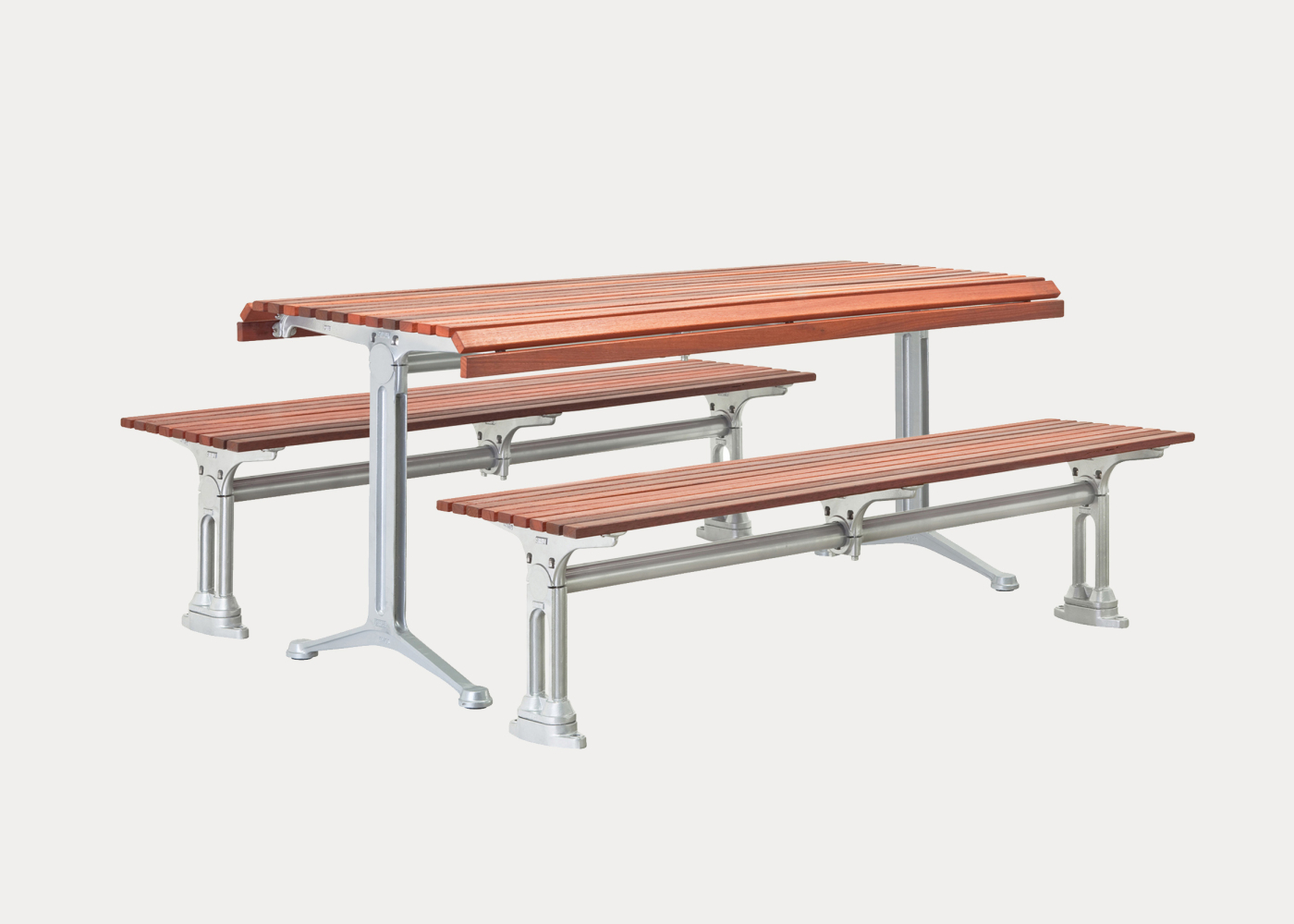 Galleria Table And Slim Benches In Precious Silver Finish Eco Certified Hardwood Battens
