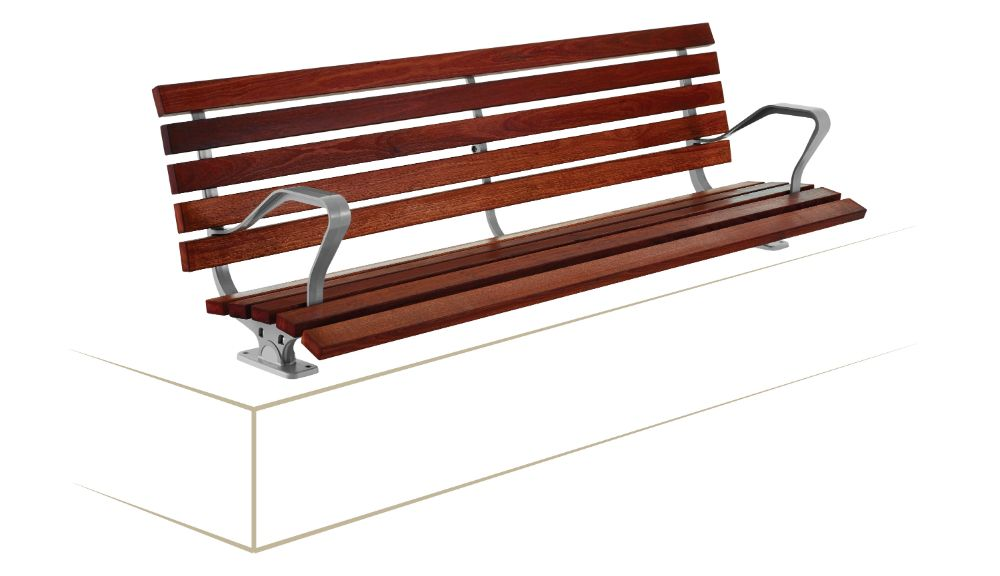 Simple, standard, discrete: Mall Seat with plinth bracket mount