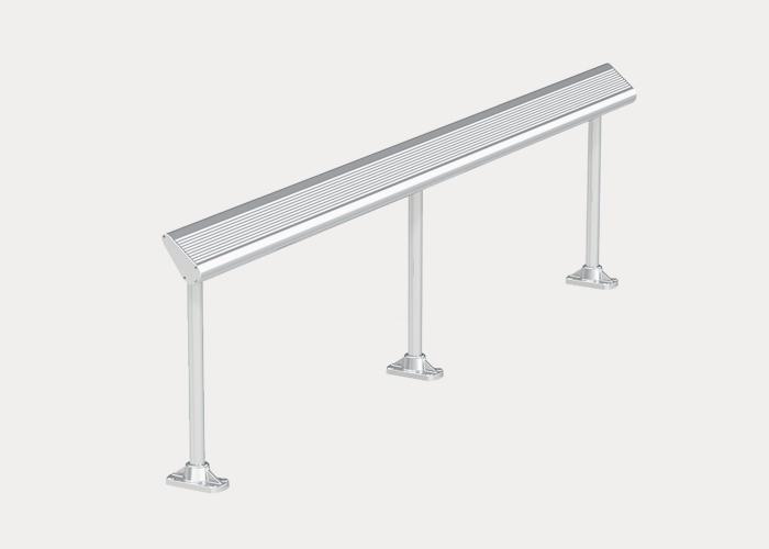 Aero Leaning Rail, AR1, Anodised Aluminium Battens, Palladium Silver Brackets and End Caps, Surface fixed