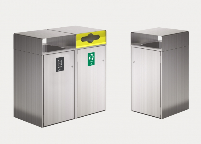 Escola Bin Enclosure, WBE-E240L, Recycling Insert in Yellow, with 'Garbage' Charcoal and 'Recycling' Green Signages