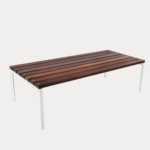 Forum Low Table 1500mm, FT7, Eco-certified Hardwood Battens, Pearl White Frames