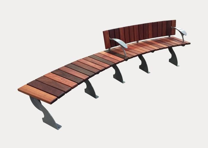 Arc Seat, ARC-S, Concave Curve, Eco-certified Jarrah Hardwood Battens and Palladium Silver frames
