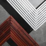 Galleria Mitred Bench, CMG-M8, Mitred Corner 90º Eco-certified Hardwood battens, Stepped Corner 90º Aluminium battens