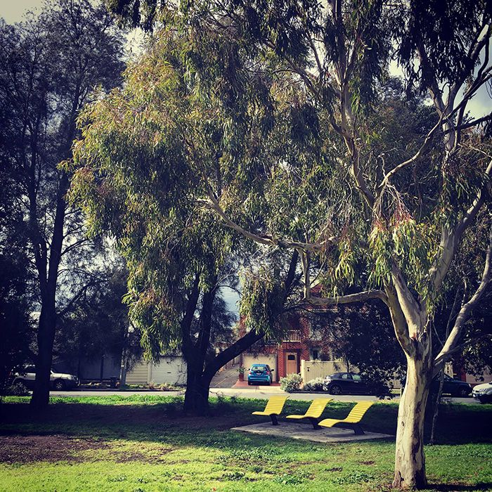 The 'Banana' Sun Lounges in their shady spot at Merri Station. Photo: Merri Stationeers