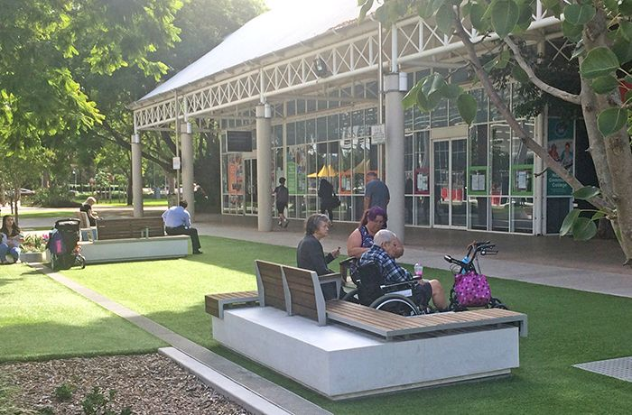 Seating creates places where people can see and be seen. Photo: Karin Schicht, Penrith City Council.