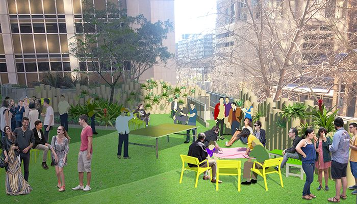 AILA Fresh NSW designs an activation for the AMP precinct. Street Furniture Australia will supply seats.