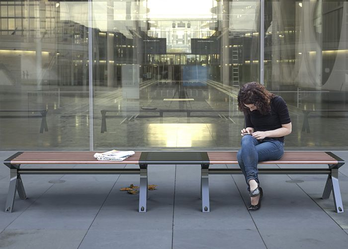 Aria Benches seamlessly connect with modular parts.