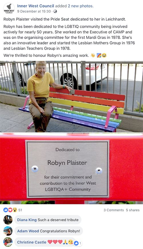Inner West Council Robyn Plaister Pride Seat