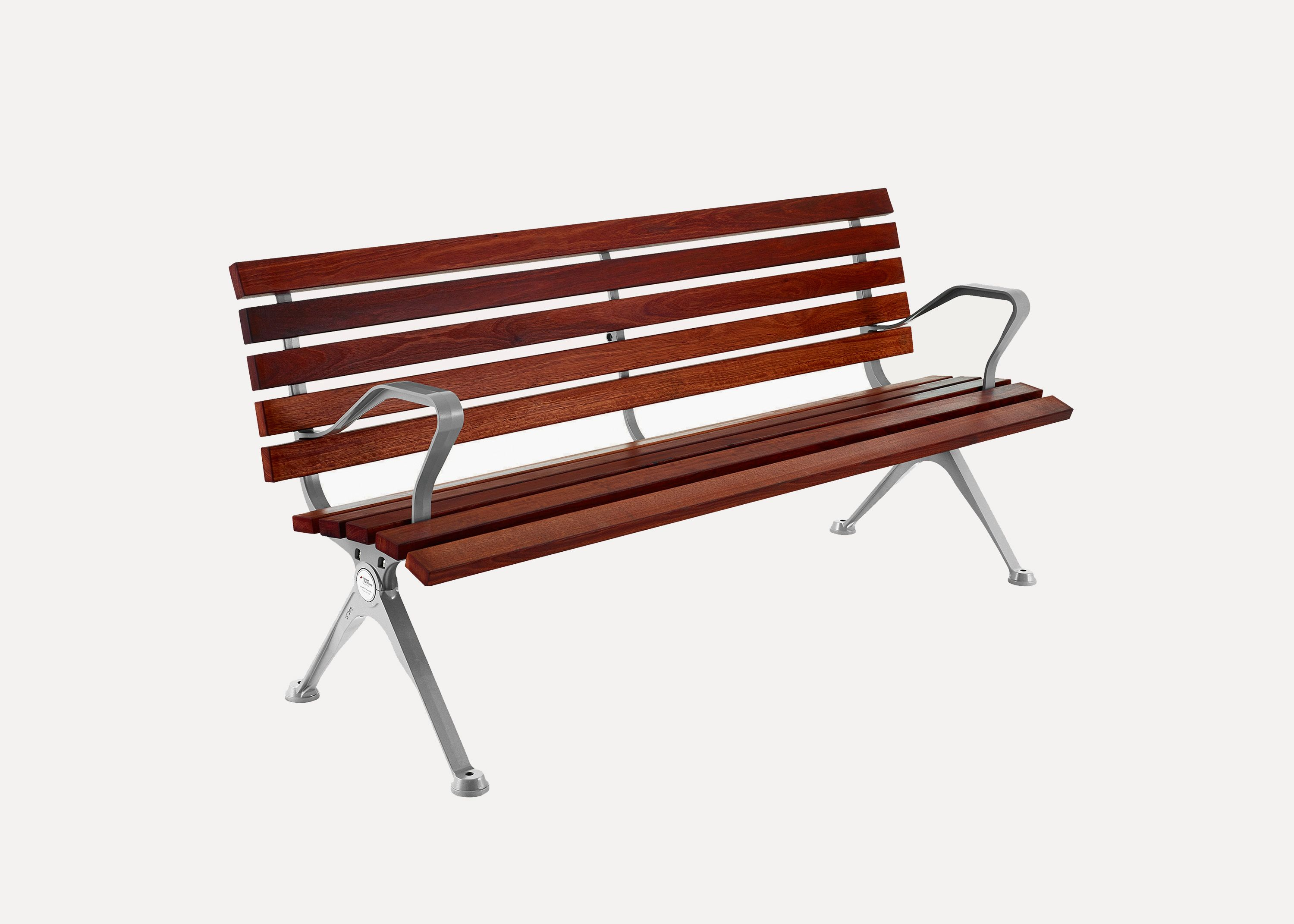 Mall DDA Seat with Eco-certified Hardwood Battens, Splay Legs, Integral Arms, Palladium Silver Finish