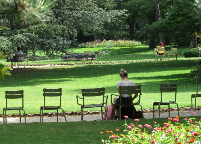 Movable chairs in the Luxembourg Garden in Paris