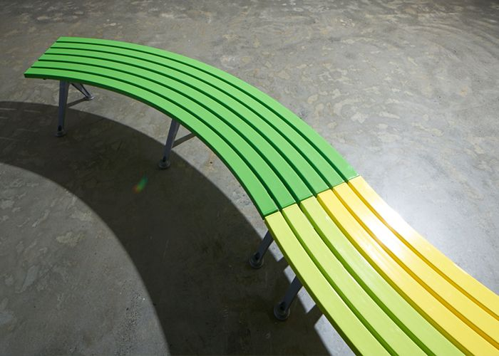 Mall Curved Bench, CMM-C803 with Splay Legs in Sable Brilliance, Battens in (back to front) Viper Green, Lycra Strip and Brilliant Yellow