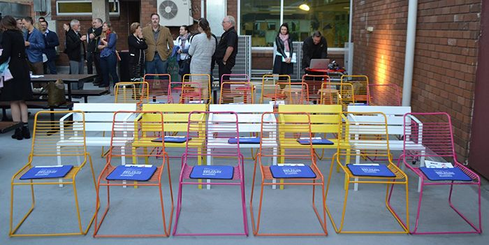 Last seen at Garema Place: Movable seats for the panel at AILA's new rooftop space.