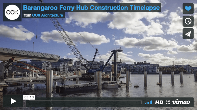 Timelapse of the Barangaroo Ferry Hub Construction by Cox Architecture.