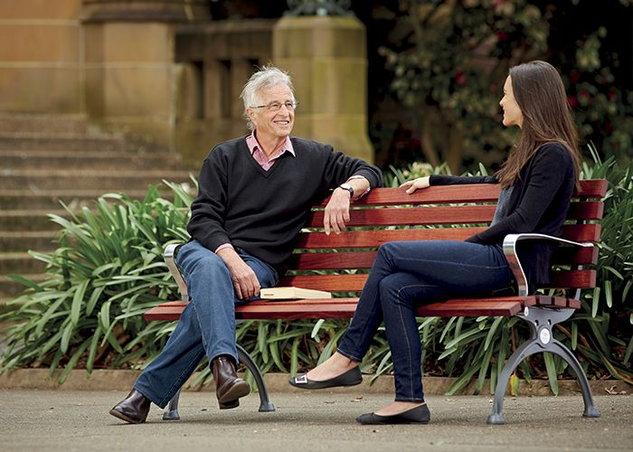 The Mall DDA Seat, by Street Furniture Australia, features an upright back and supportive armrests.