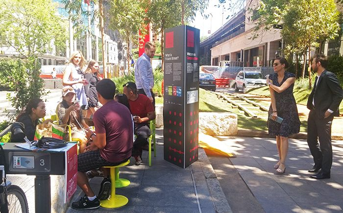 Moveable Cafe Tables and Seats make a great place to eat your lunch.