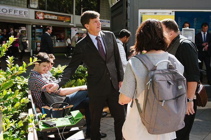 Assistant Minister for Cities Angus Taylor checks out PowerMe at the official opening. Photo: WE-EF.