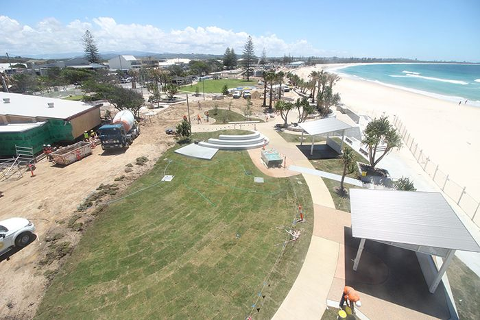 Part of the new Kingscliff Foreshore under construction.