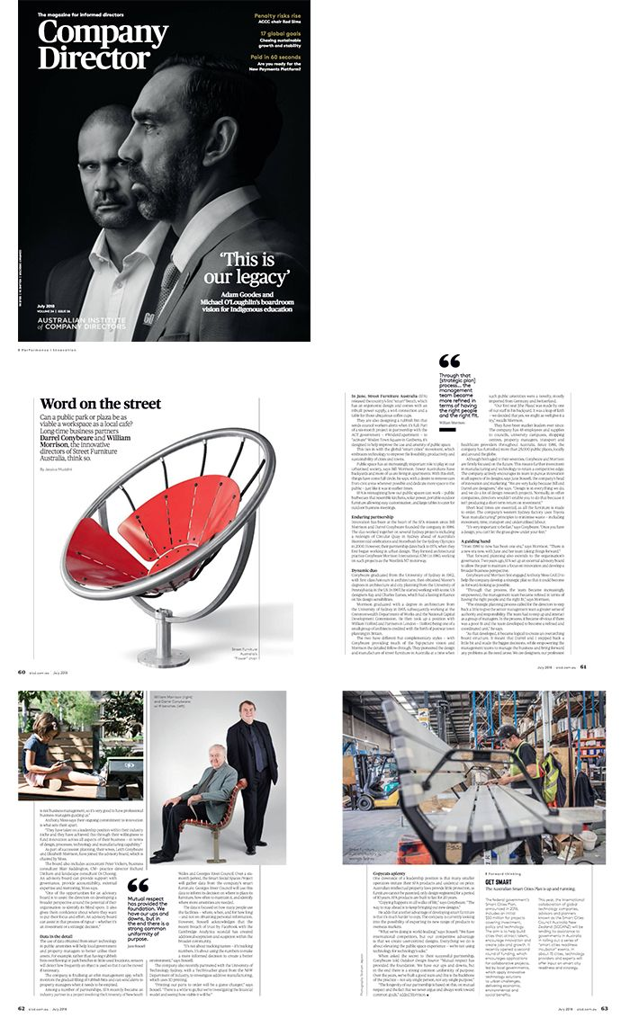 Street Furniture Australia ' Word on the Street' article in the print edition of Company Director Magazine, July 2018.