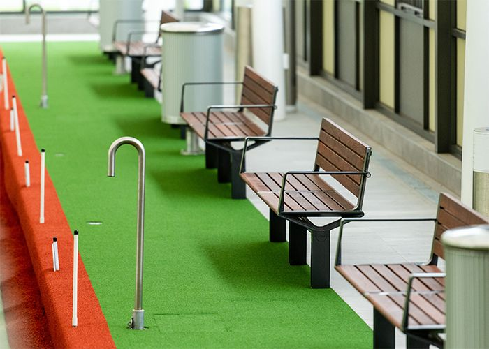 Aria Seat with Jarrah battens, Textura Monument frame installed at Sunbury Bowling Club, Victoria