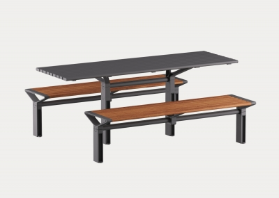 Aria Bench with aluminium woodgrain Spotted Gum battens, Textura Monument frame and legs, and Aria DDA Table with Textura Monument battens, frame and legs.