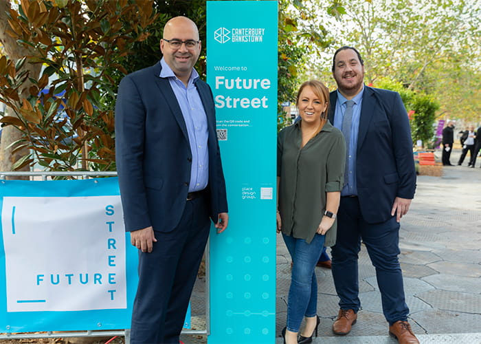 From the City of Canterbury Bankstown (left to right): Mayor Khal Asfour, Petrhyce Donovan – Digital Innovation Program Manager and Christopher Manoski – Innovation Coordinator.